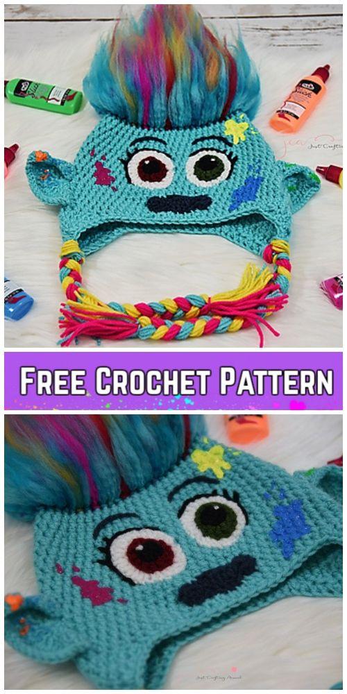 5 Crochet Poppy Troll Hat Free Crochet Patterns | crochet gifts ...