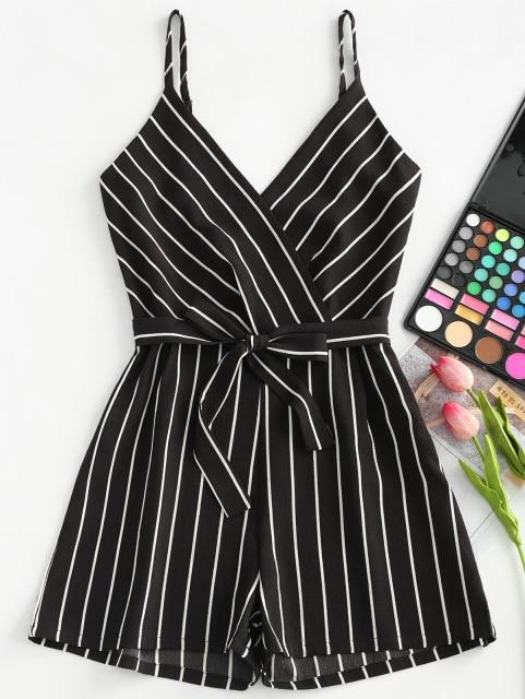 AZULINA Striped Spaghetti Strap Belt Romper Women Jumpsuit 2018 Casual Rompers Summer Beach Girls Clothes Mini Playsuit Overalls
