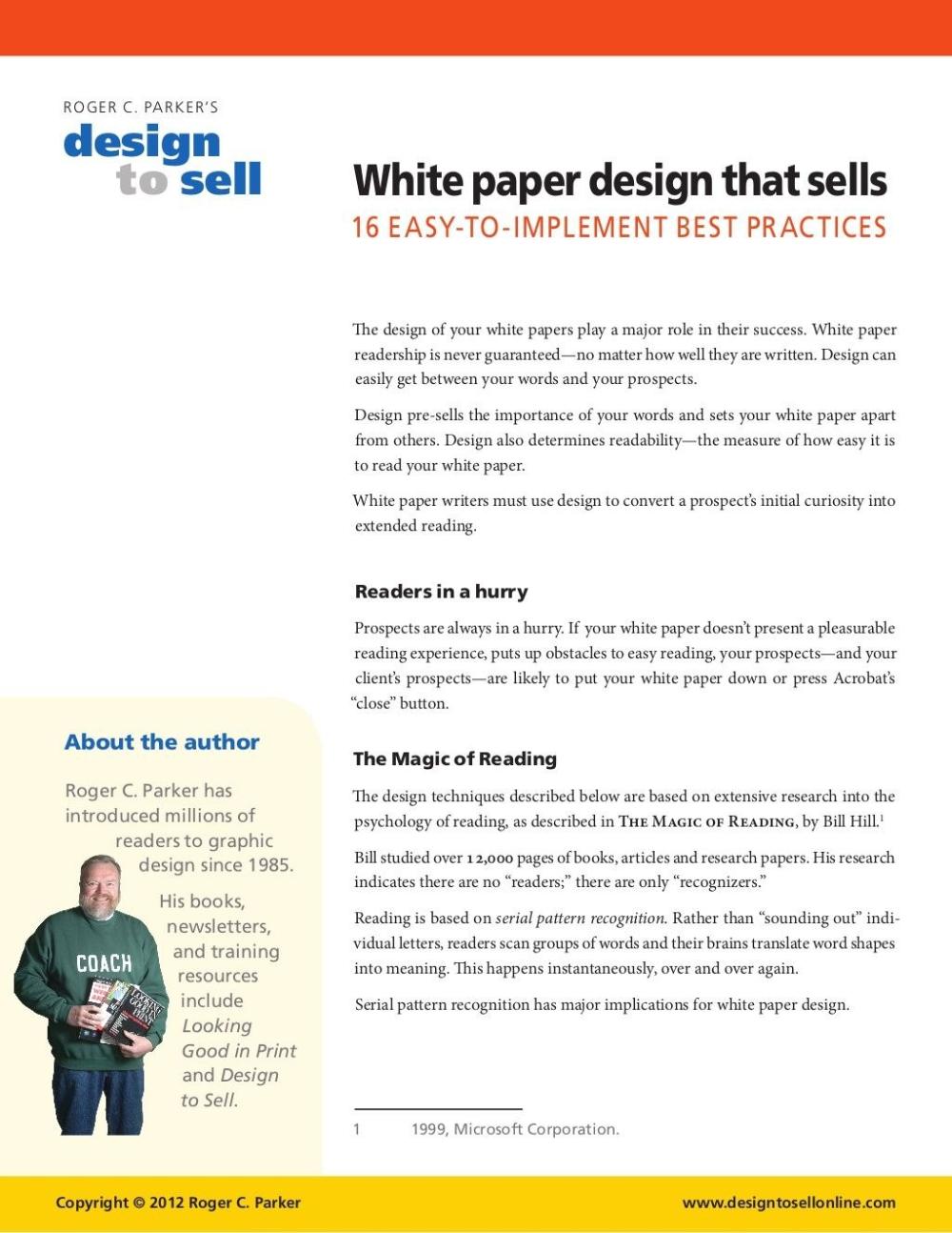 Whitepaperdesignthatsellsroger Parker Via Slideshare In White Paper Report Template 10 Professional Templates Ideas White Paper Paper Template Paper Design