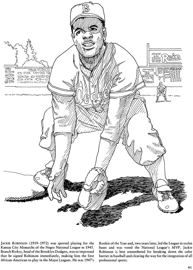 Sports Pages Jackie Robinson Theme Activity Coloring Pages