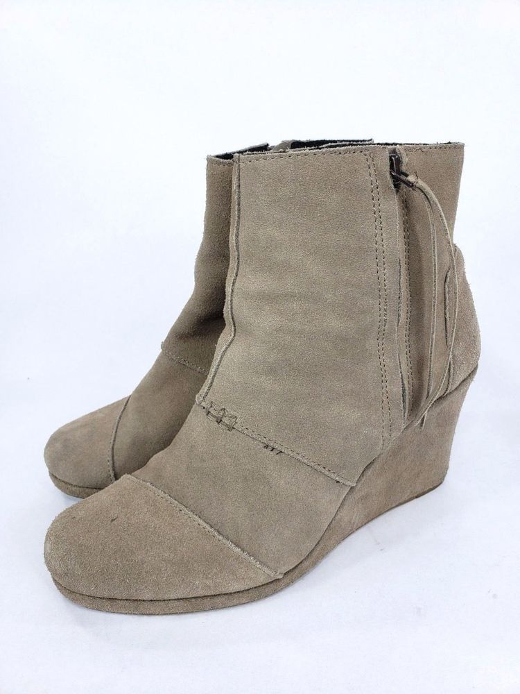 70709e46dce Toms Womens Desert Wedge Tan Taupe Suede Zip Ankle Boots Shoes Size 9 B   TOMS  AnkleBoots  Casual