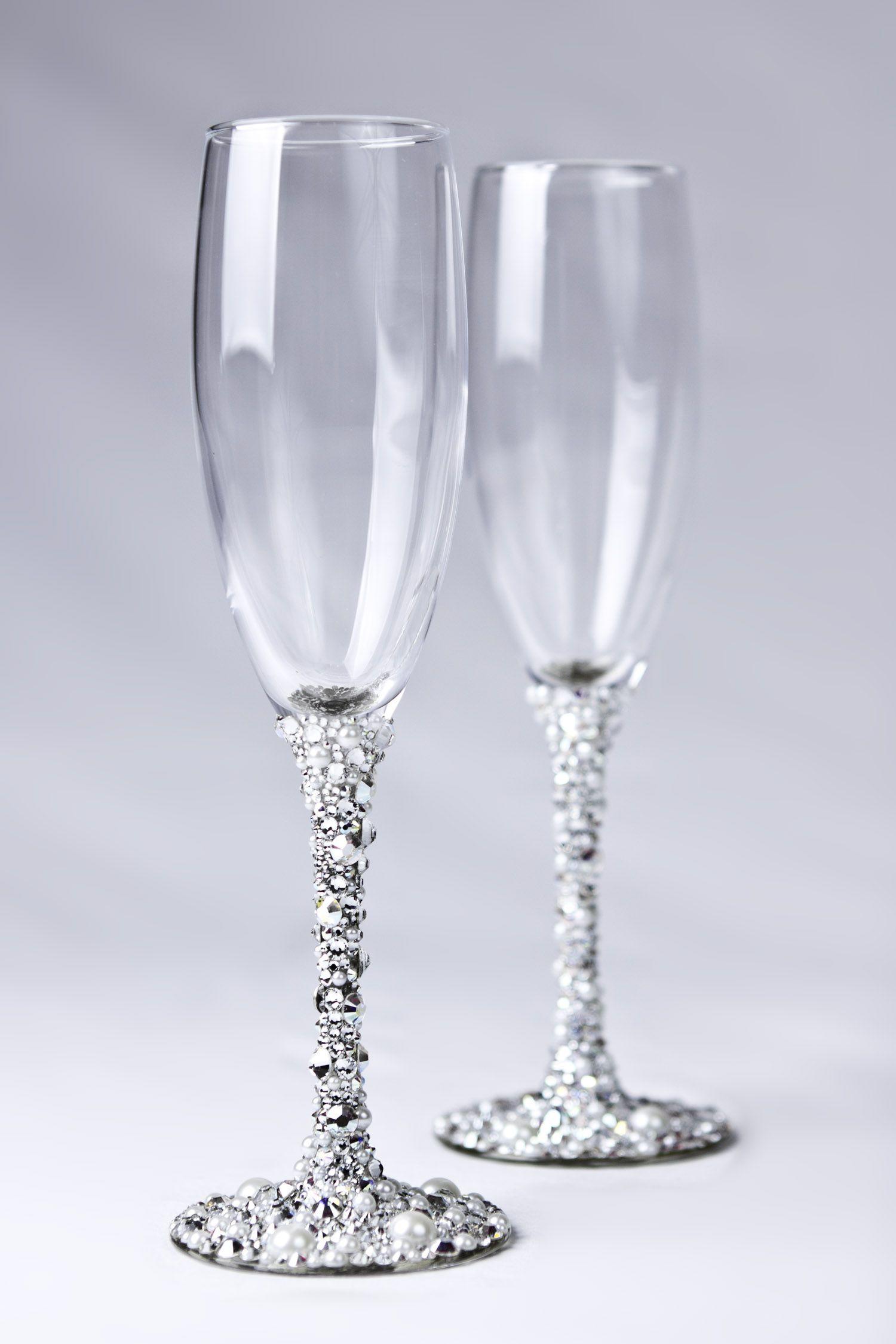Swarovski crystal champagne glasses handmade i want to try this home goods pinterest - Swarovski stemware ...