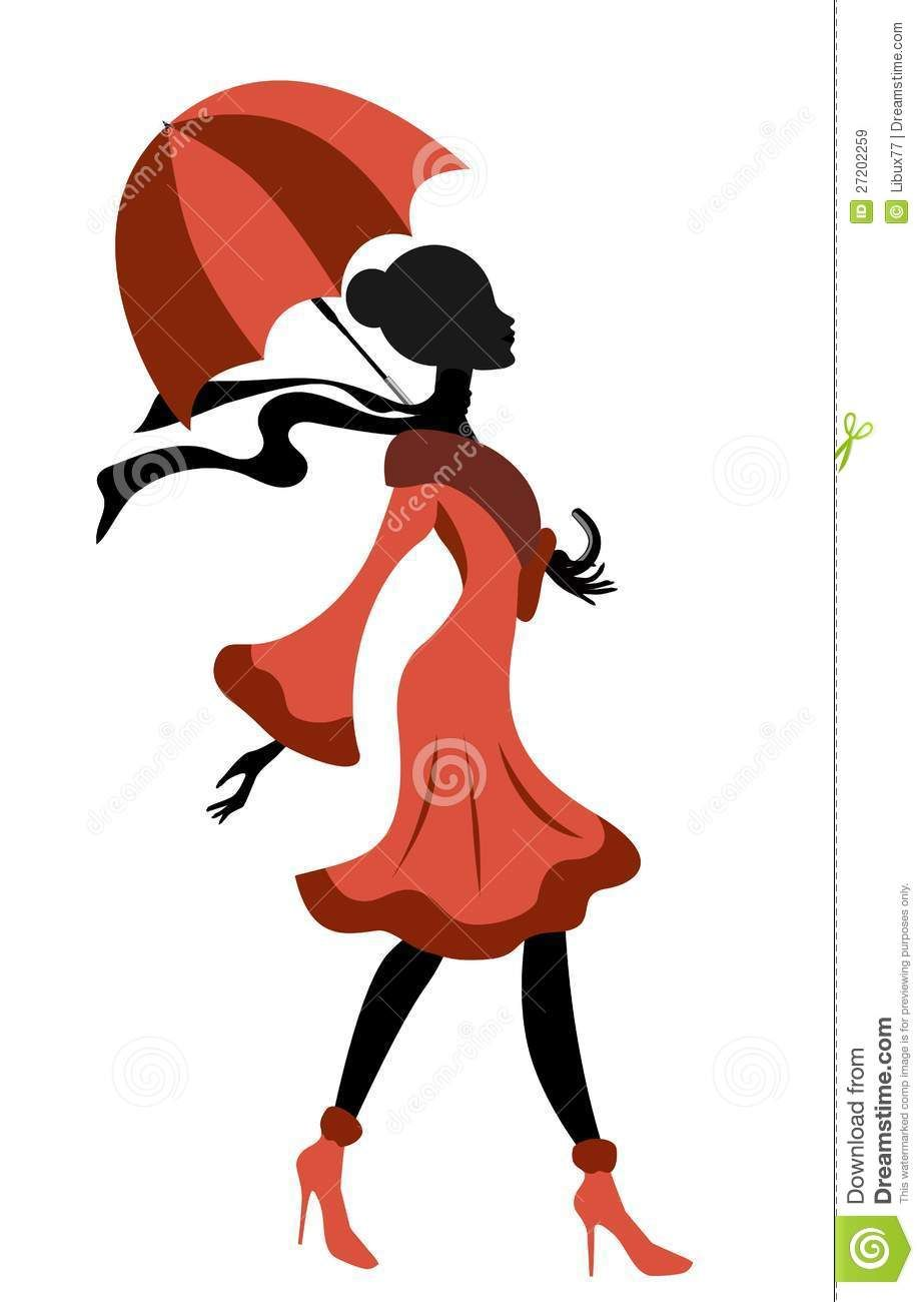 elegant lady silhouette walking with umbrella royalty free stock rh pinterest com Clip Art Hats Scarves Mittens Fitness Clip Art