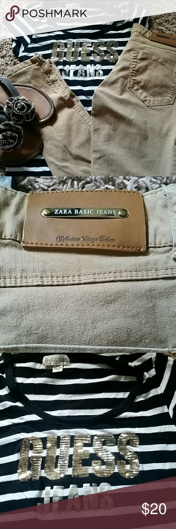 ZARA skinny jeans, GUESS shirt, and sand Selling as a bundle of;  ZARA skinny jeans  size 2,  GUESS strip shirt size XS, and  YOKI leopard print flip flops. Zara Jeans Skinny