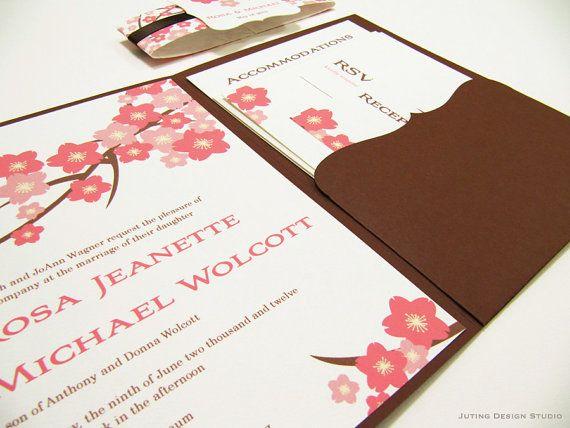 Pocketfold Wedding Invitation Suite Cherry by JutingDesignStudio