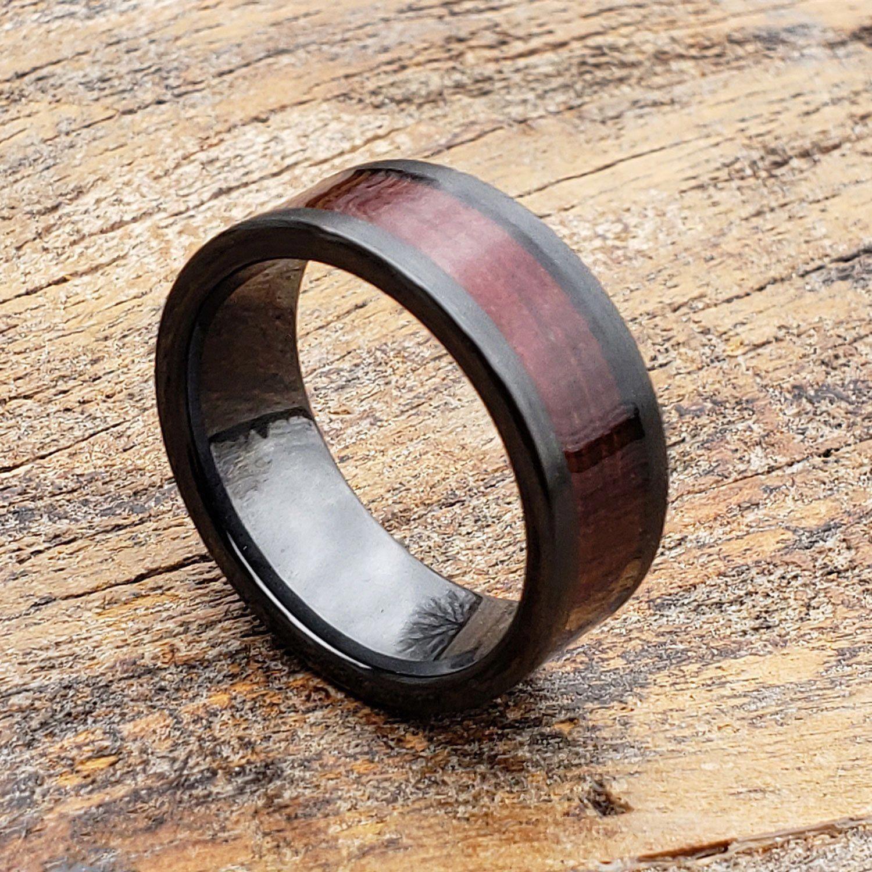 heneedsagift Black rings for him, Wood wedding band