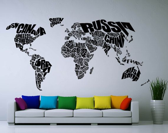 Typography world map vinyl wall art decal wd0743 by srisupa ideas explora calcomana de vinilo para pared y mucho ms typography world map vinyl wall art decal gumiabroncs Image collections