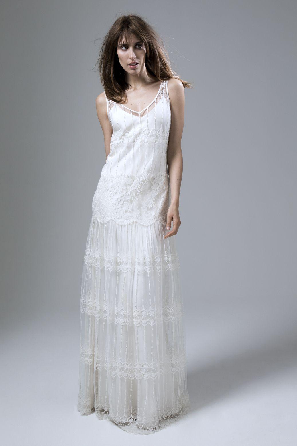 Bridal fashion lace v neck straight dress slip french lace