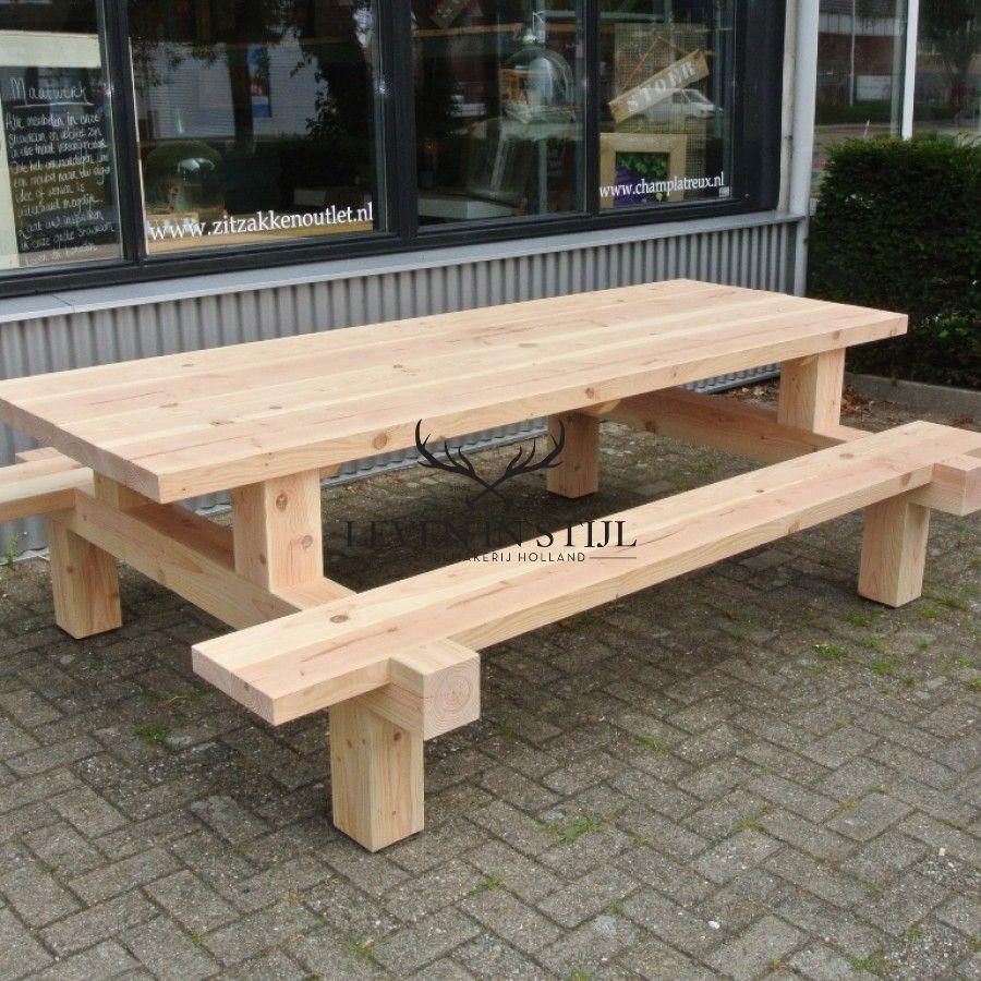 Picknicktafel Douglas Forreest Stoer van hout en geheel op maat ...