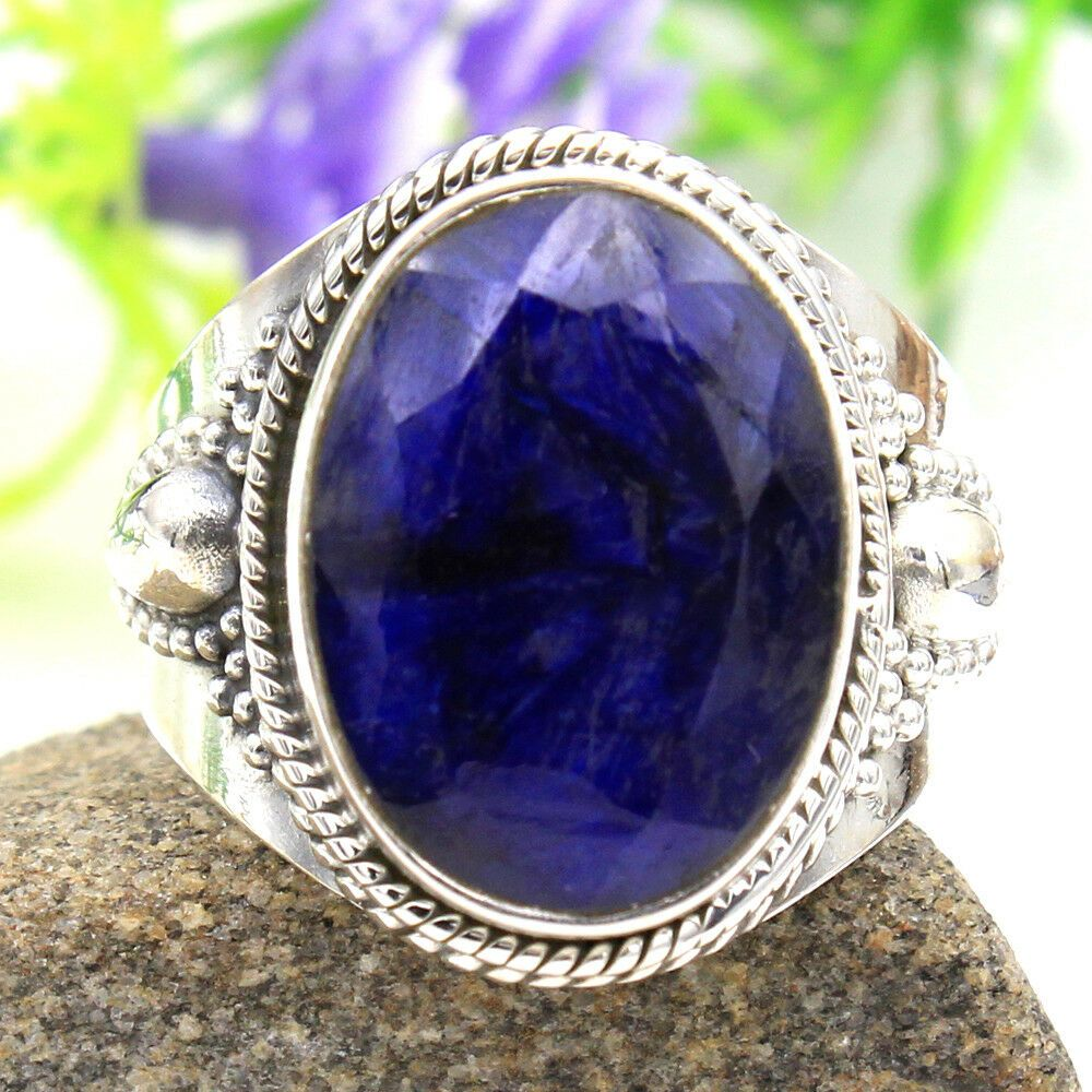 Biggest sale faceted blue sapphire 925 sterling silver