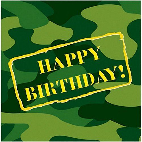 Camouflage Happy Birthday Lunch Napkins 16 Per Pack by Creative Converting. $5.19. Design is stylish and innovative. Satisfaction Ensured.. Manufactured to the Highest Quality Available.. Creative Converting is a leading manufacturer and distributor of disposable tableware including high-fashion paper napkins plates cups and tablecovers in a variety of solid colors and designs appropriate for virtually any event