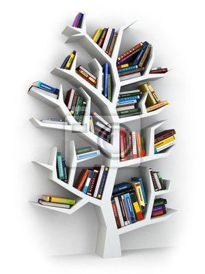 Wall Mural Tree Of Knowledge Bookshelf On White