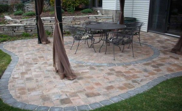Image of Trendy Outdoor Patio Tiles Over Concrete with Mosquito     Image of Trendy Outdoor Patio Tiles Over Concrete with Mosquito Netting for  Outdoor Gazebo in Brown Color Alongside Stacked Stone Retaining Wall Ideas  also