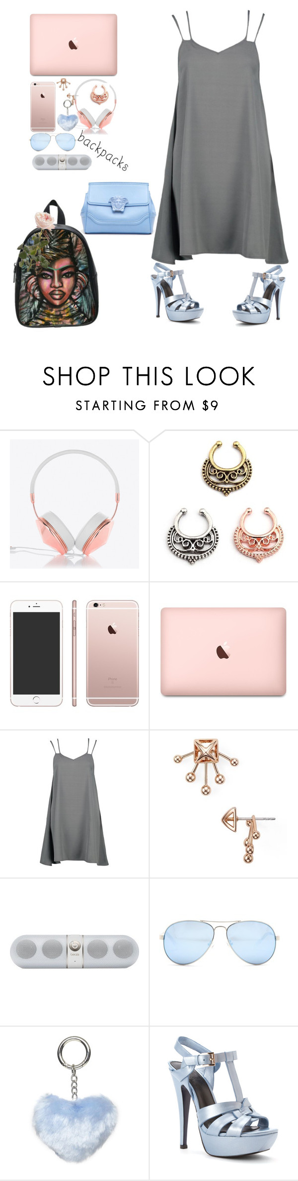 """""""Untitled #107"""" by kenni35 ❤ liked on Polyvore featuring Frends, Boohoo, Rebecca Minkoff, Beats by Dr. Dre, GUESS, Dorothy Perkins, Hardy Design Works, Versace, backpacks and contestentry"""