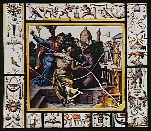 Réunion des Musées Nationaux-Grand Palais - Musée d'Ecouen vitraux. Suzanne et les vieillards. Ec.157. XVI°s. France (origine)