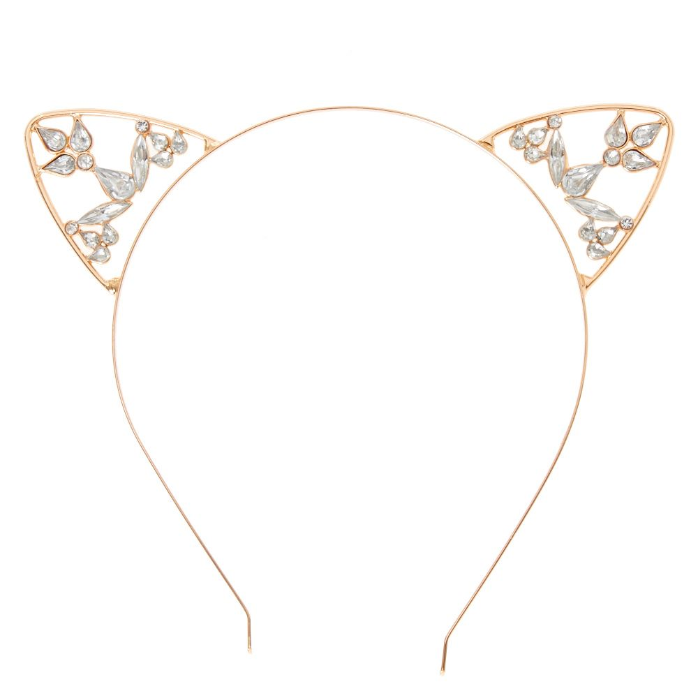 P Rose gold metal headband features cat ears accented crystal and  rhinestone embellishments.  P  UL  LI Rose gold  LI Crystal details  LI Cat  ears ... f7dc5b63bdc