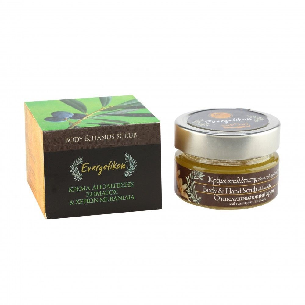 Exfoliating body and hand Cream with vanilla 100ml. #Evergetikon