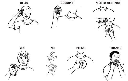 Sign Language Hello Goodbye Nice To Meet You Yes No Please Thanks Sign Language Phrases Sign Language Words Sign Language Alphabet