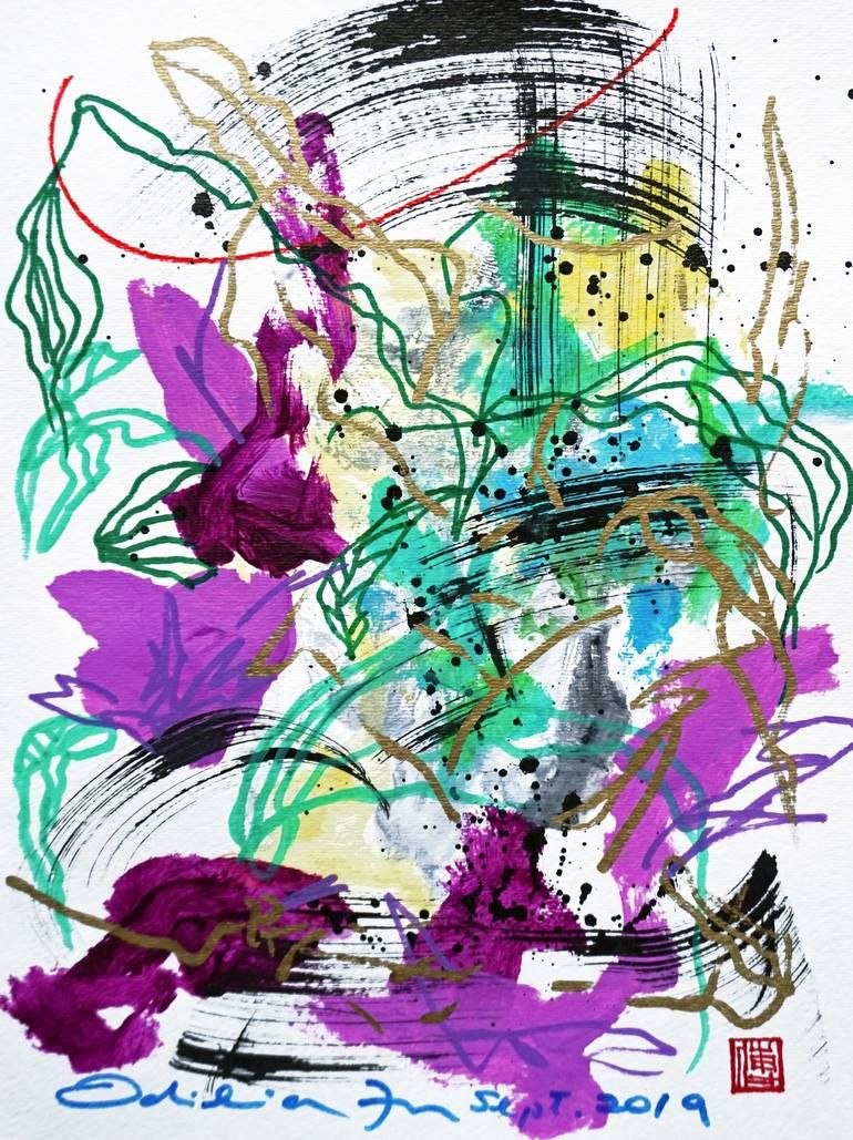 Original Abstract Painting by Odilia Fu | Abstract Art on Paper | Beethoven: Dreamy Violets No.09222019