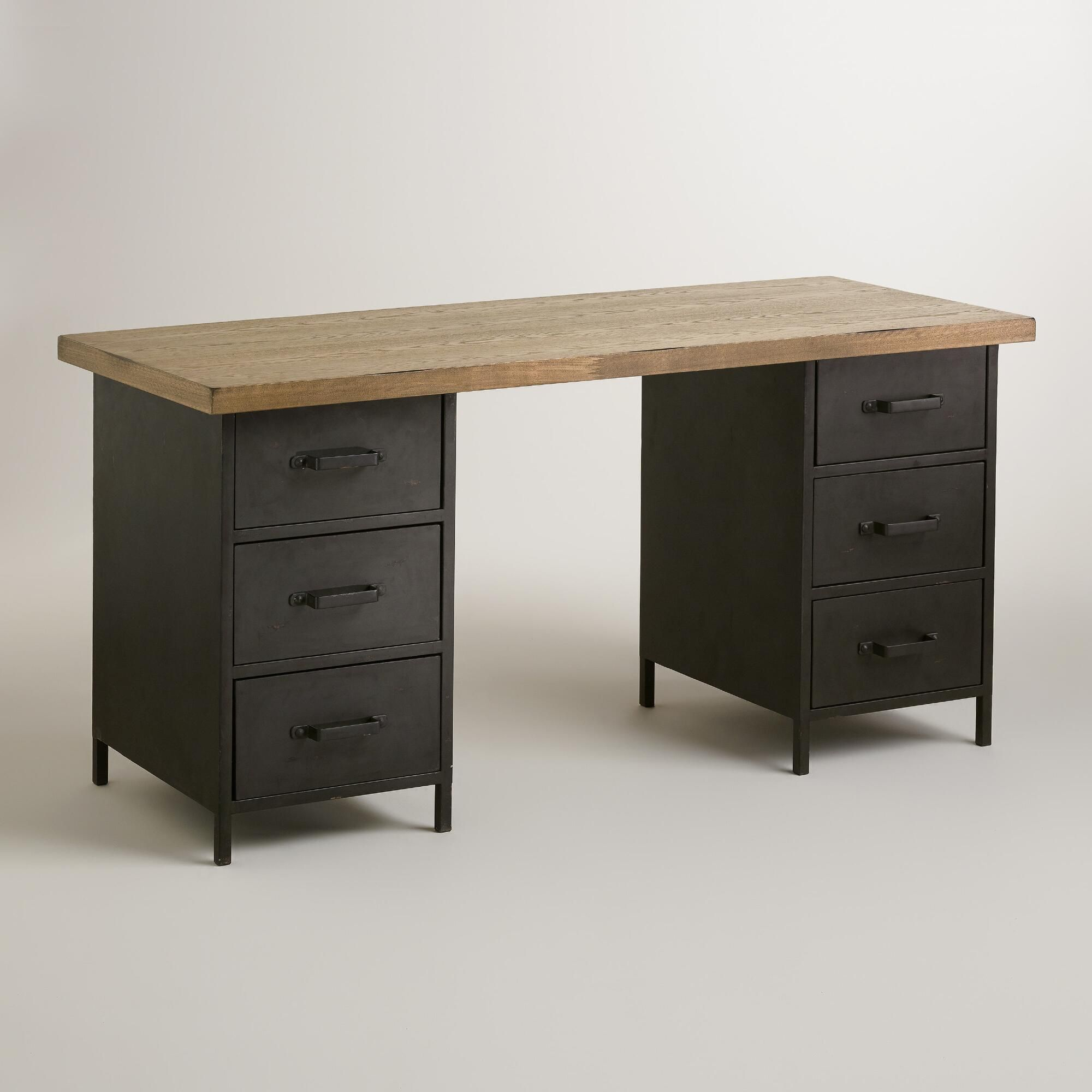 Natural Wood And Metal Drawer Colton Mix Match Desk Desk With Drawers Natural Wood Desk Desk Furniture