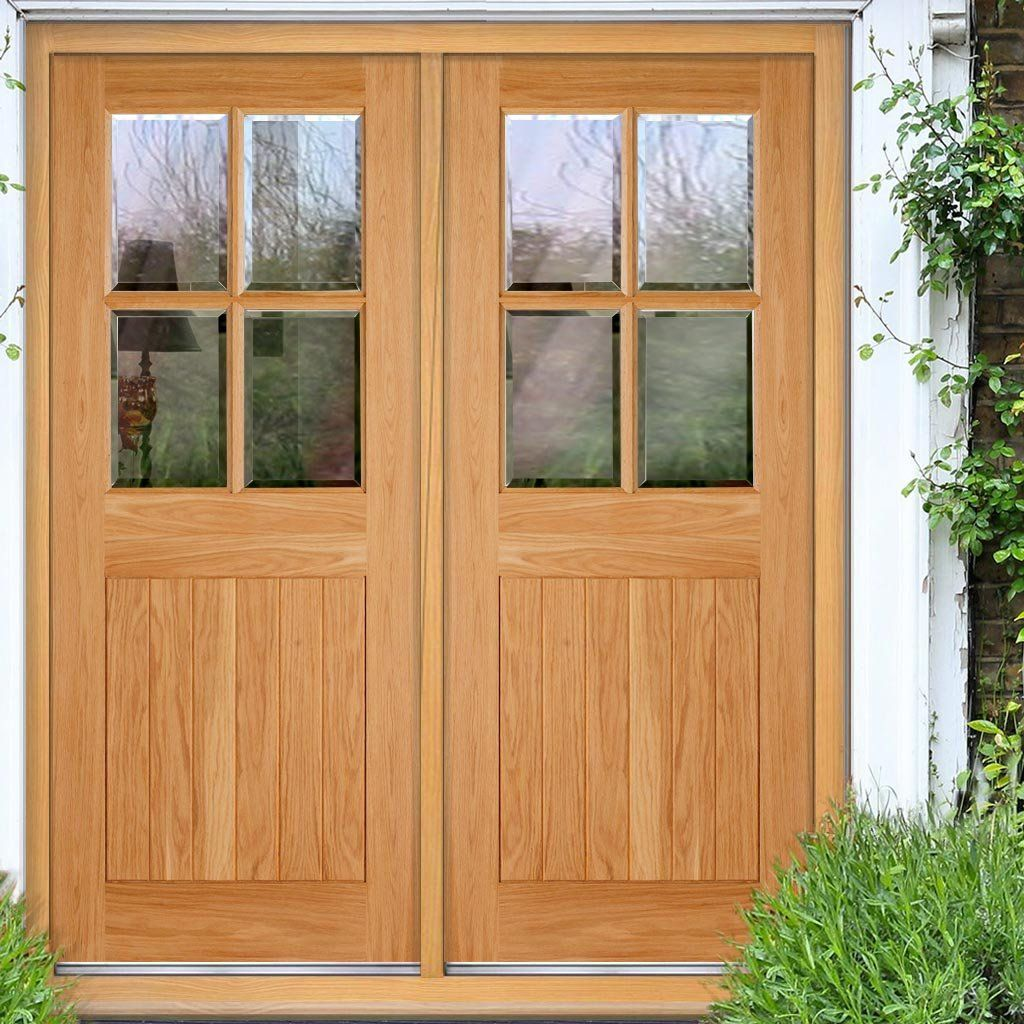 The Cottage 4L Exterior Oak Double Door and Frame Set with