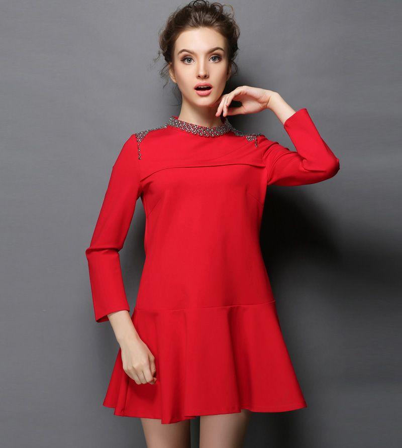 S- 5XL Black Red Autumn Drop Waist Dress Long Sleeve