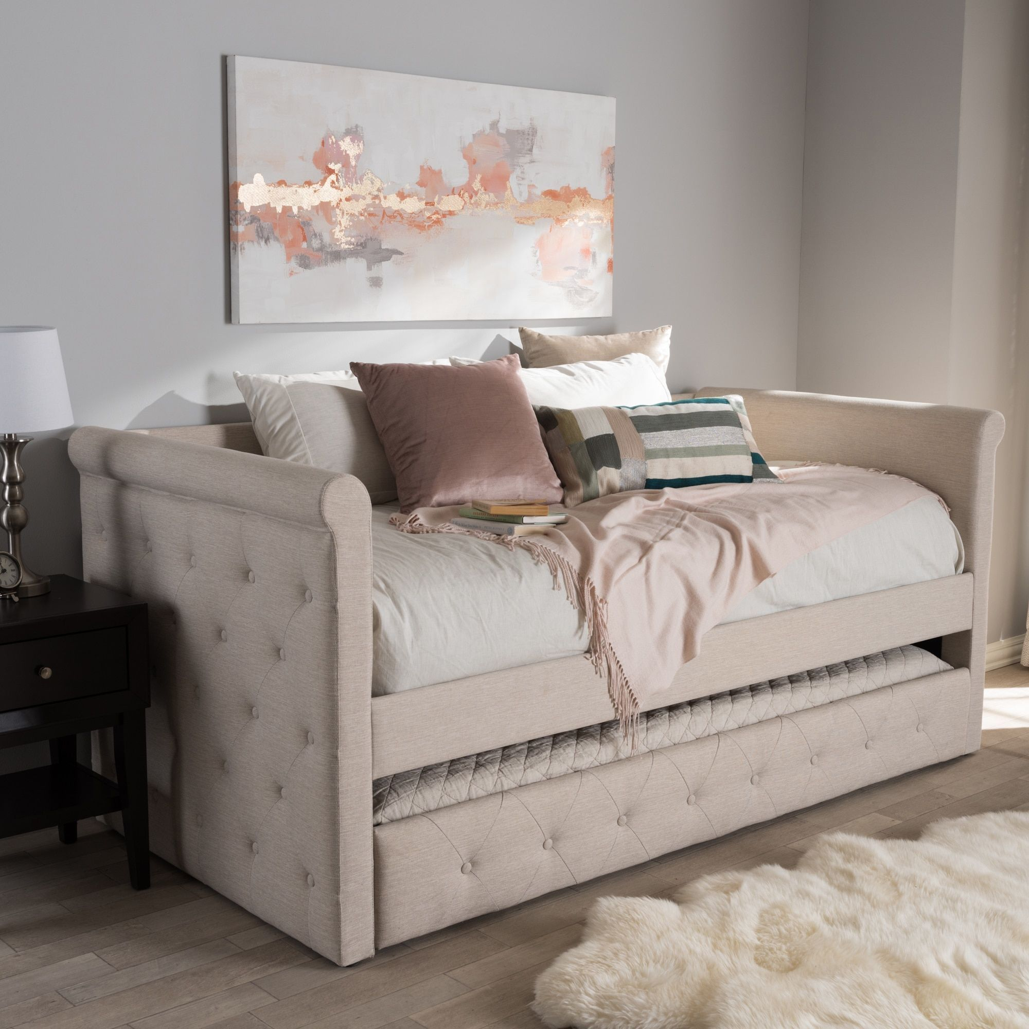 contemporary fabric daybed with trundle by baxton studio cream