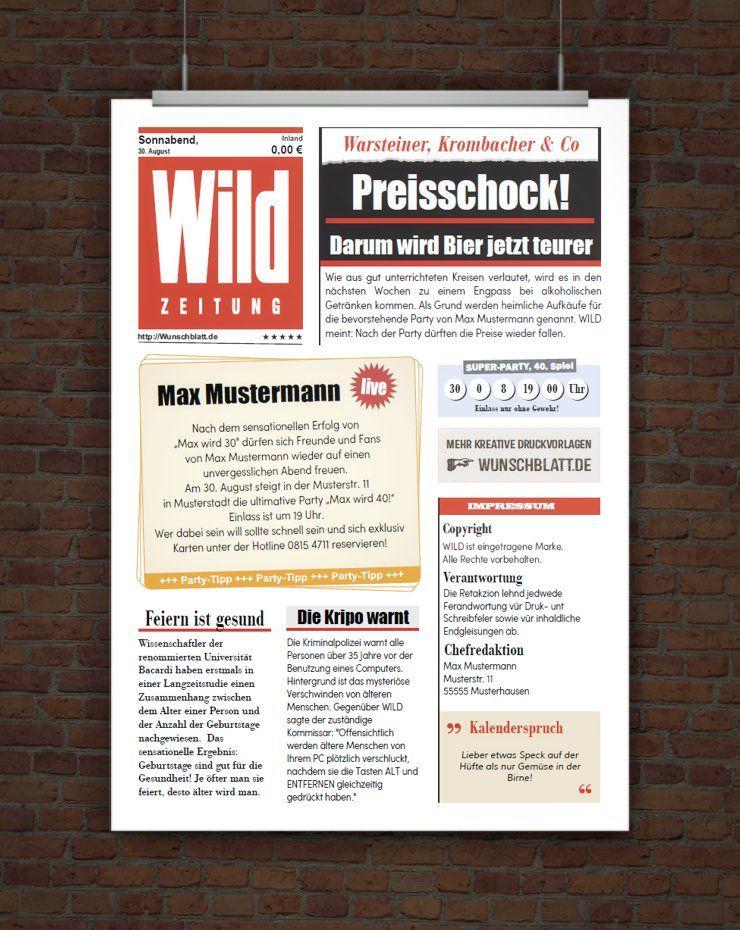 Kostenlose Wild Zeitung Free Pinterest