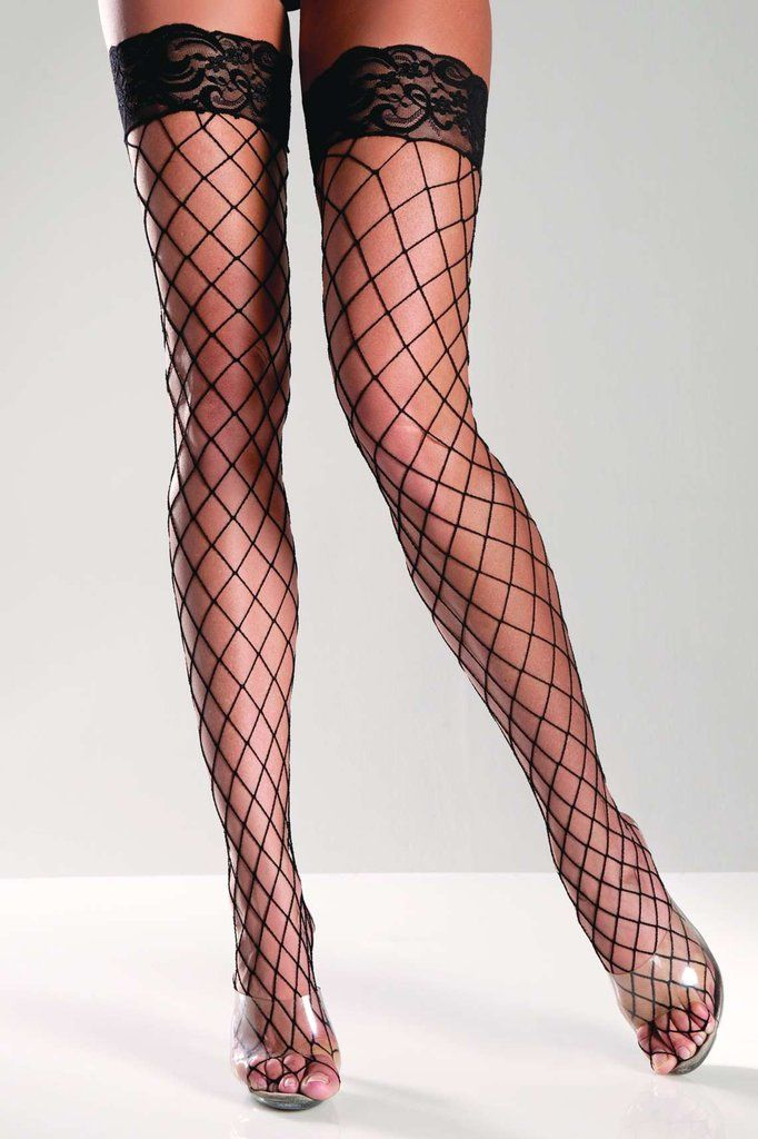 Black Lace Back Seamed Thigh High Stockings #