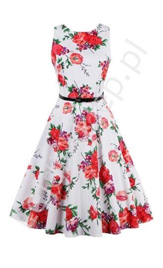 Biala Sukienka W Czerwone Kwiaty Rozkloszowana Kwiatowa Sukienka R 36 R 50 White Vintage Dress Short Swing Dress Retro Dress