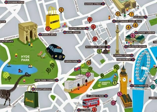 Guia Y Recomendaciones De Londres Londres Mapa Turístico Mapas Ilustrados