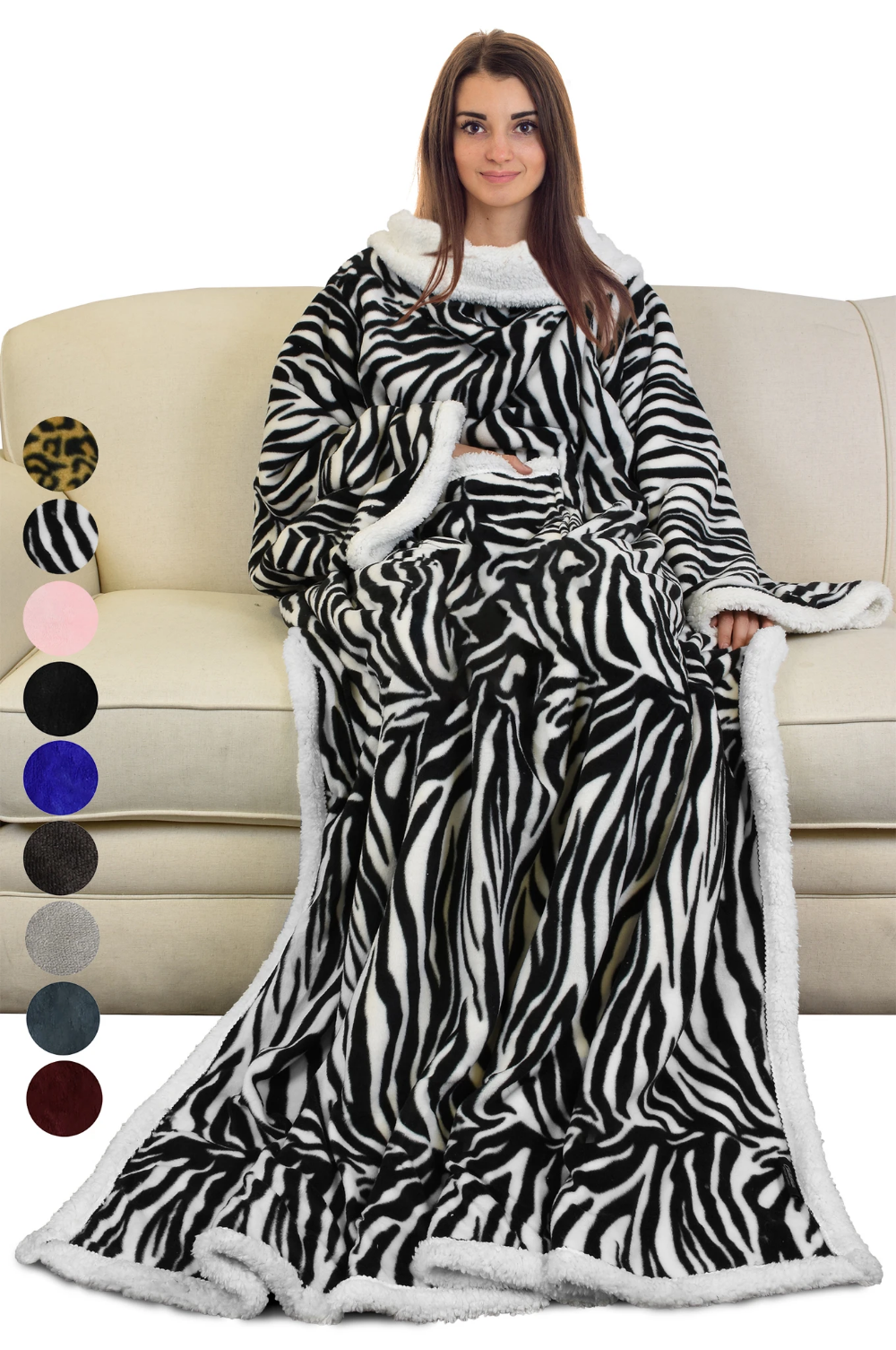 Plush Sherpa Fleece Wearable TV Blanket with Sleeves Arms