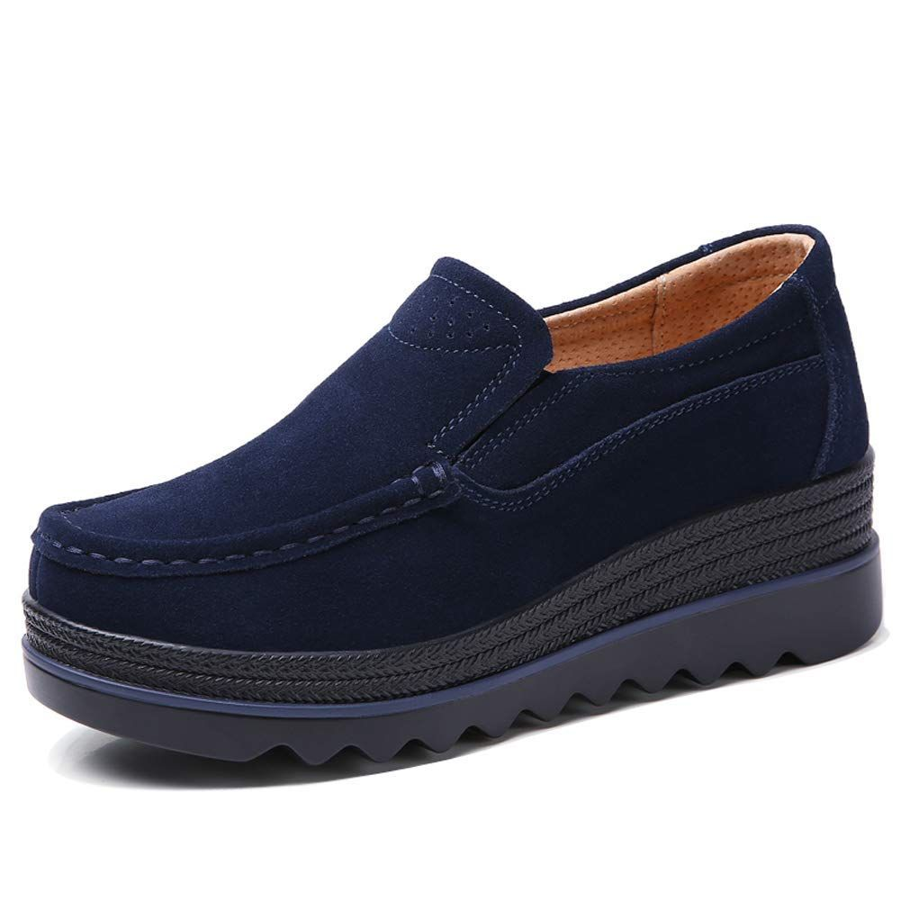 f1123fd82db HKR HWT1099shenlan35 Womens Casual Platform Shoes Slip On Wide Width  Loafers Comfortable Wedge Sneakers Navy Blue