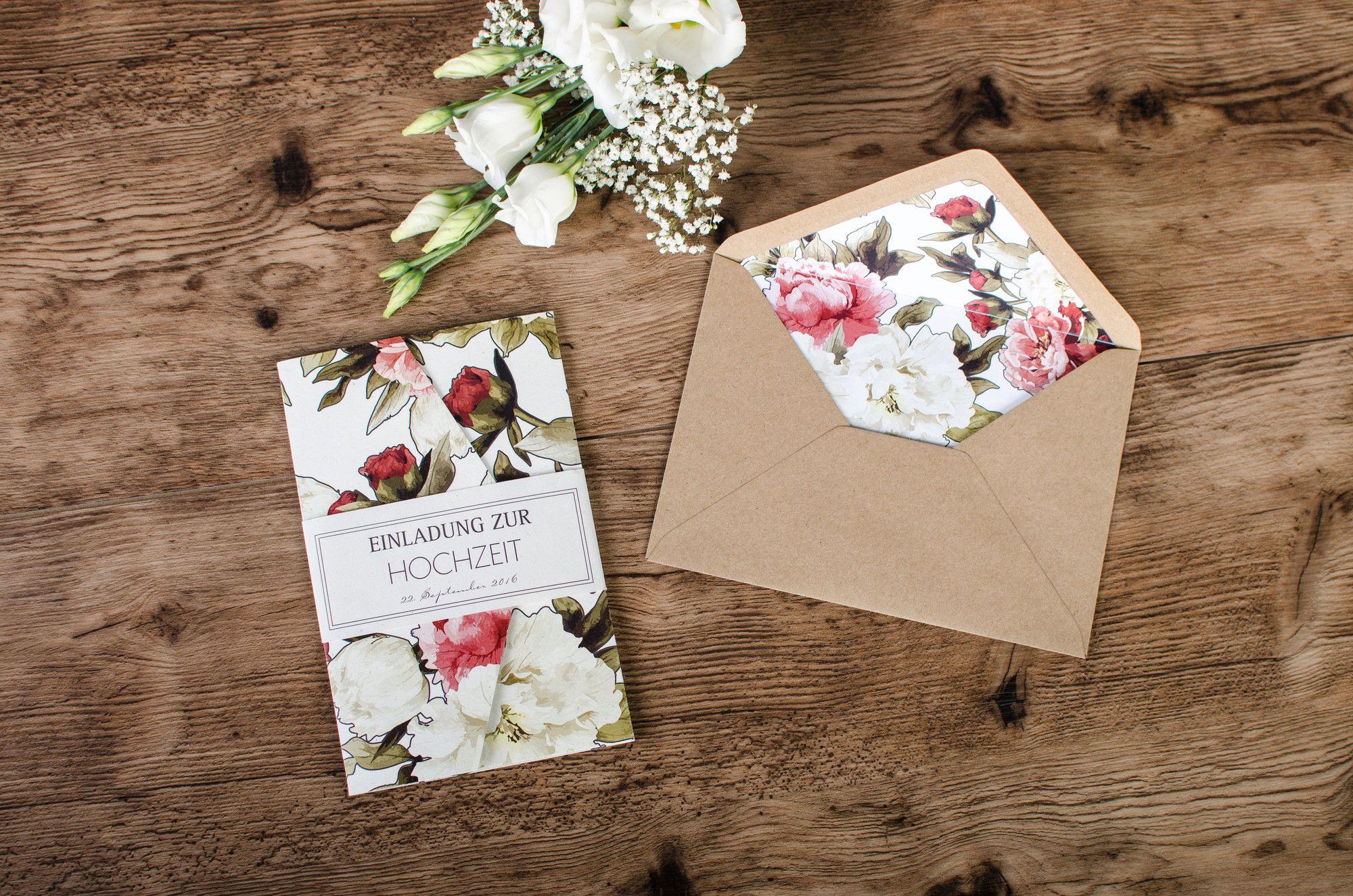 Vintage Pfingstrosen Einladung Zur Hochzeit Pocket Fold Emilia Und Tom    Carinokarten