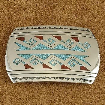 Coral Turquoise Inlay River Mountain Design Belt Buckle at www.bonanza.com/chestoftreasures