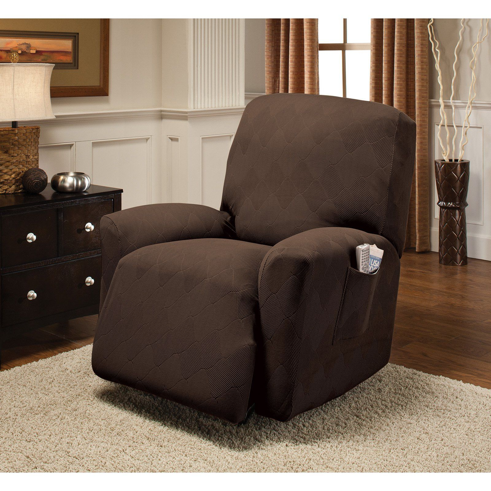 for slipcovers fit stretch sure chocolate recliner surefitstretchpiquelargereclinerslipcover options recliners hayneedle pique large slipcover cfm product