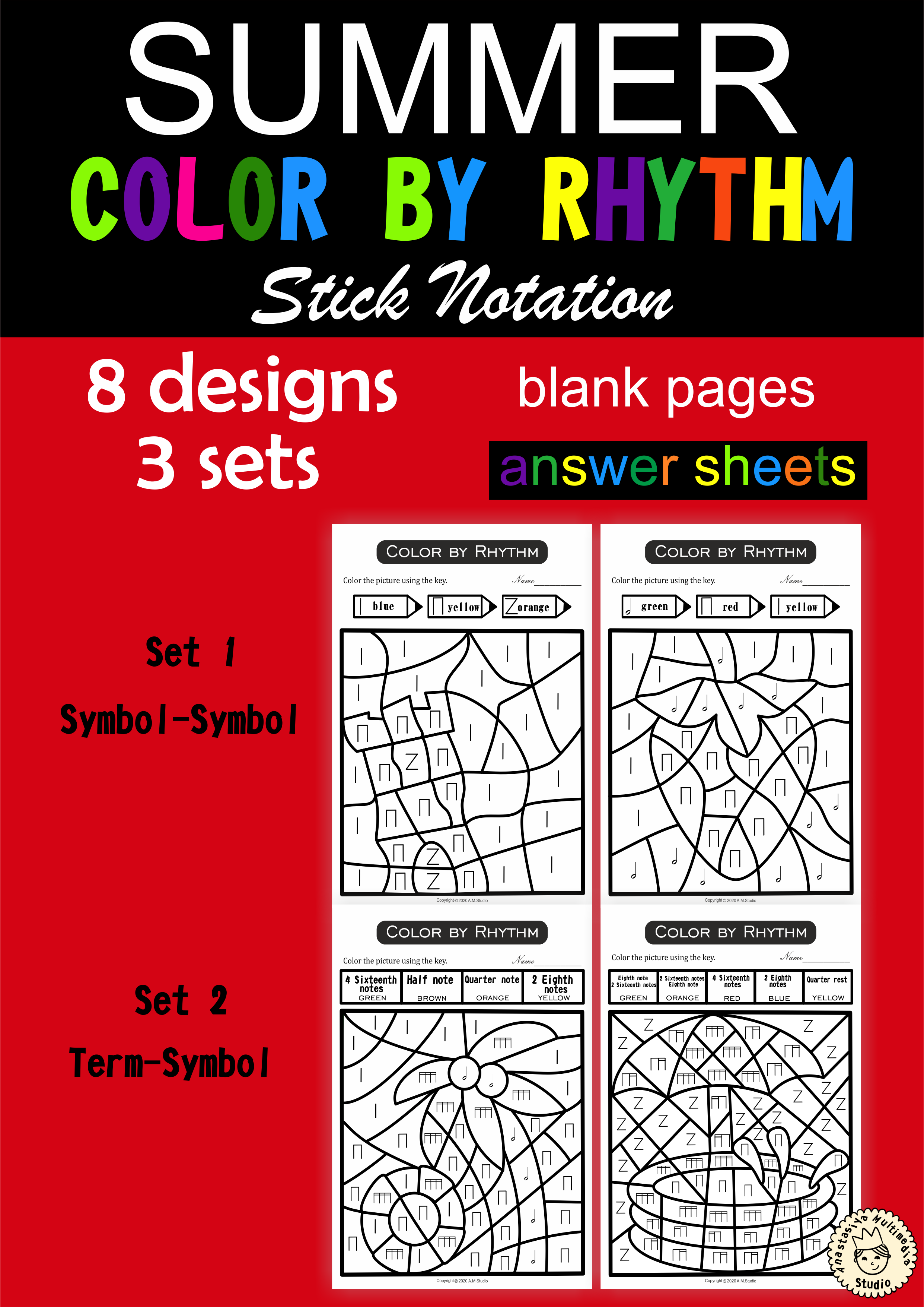 Color By Rhythm Summer Themed Pages Stick Notation In