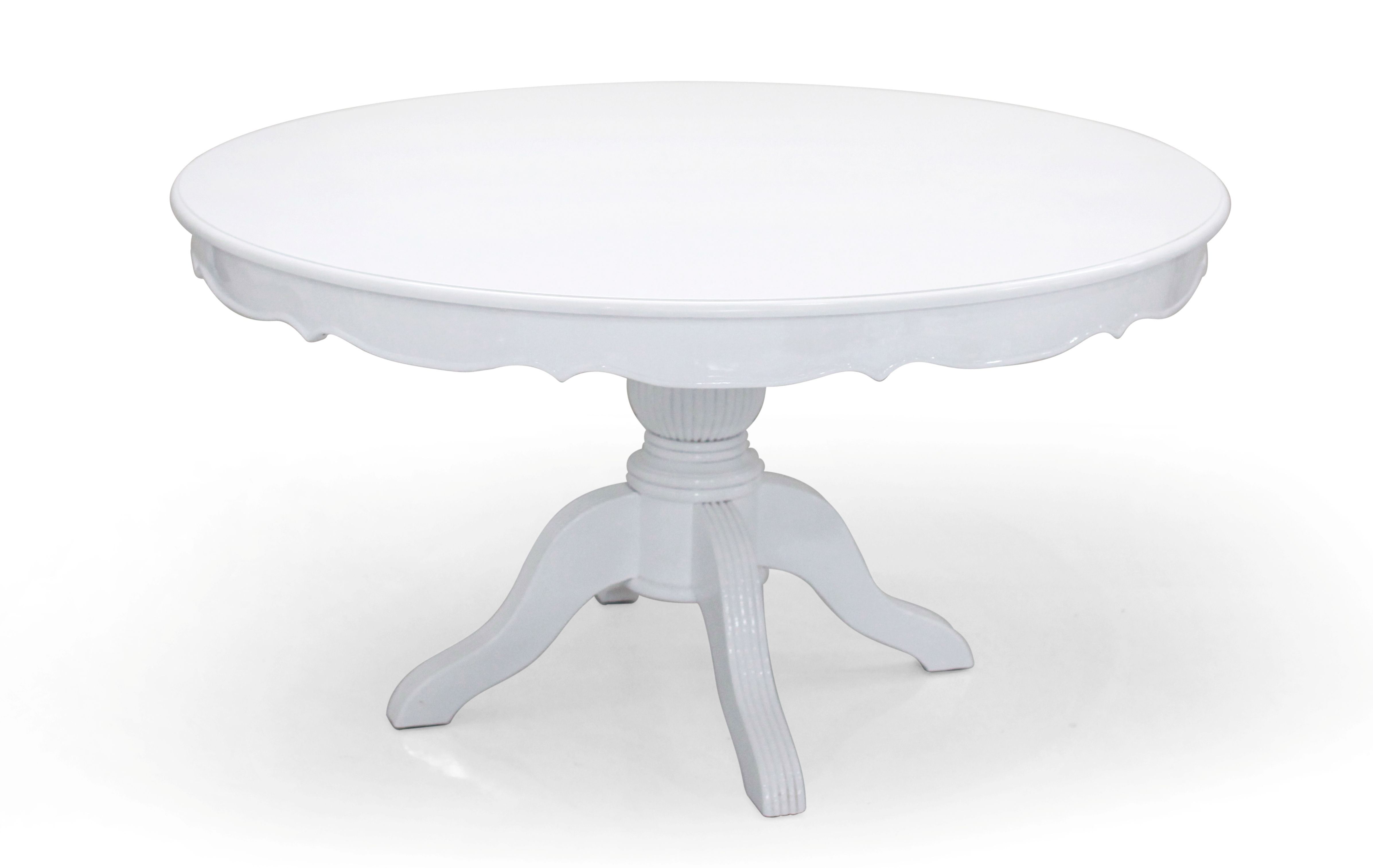 White Victorian Round Dining Table With A Solid Sturdy Carved