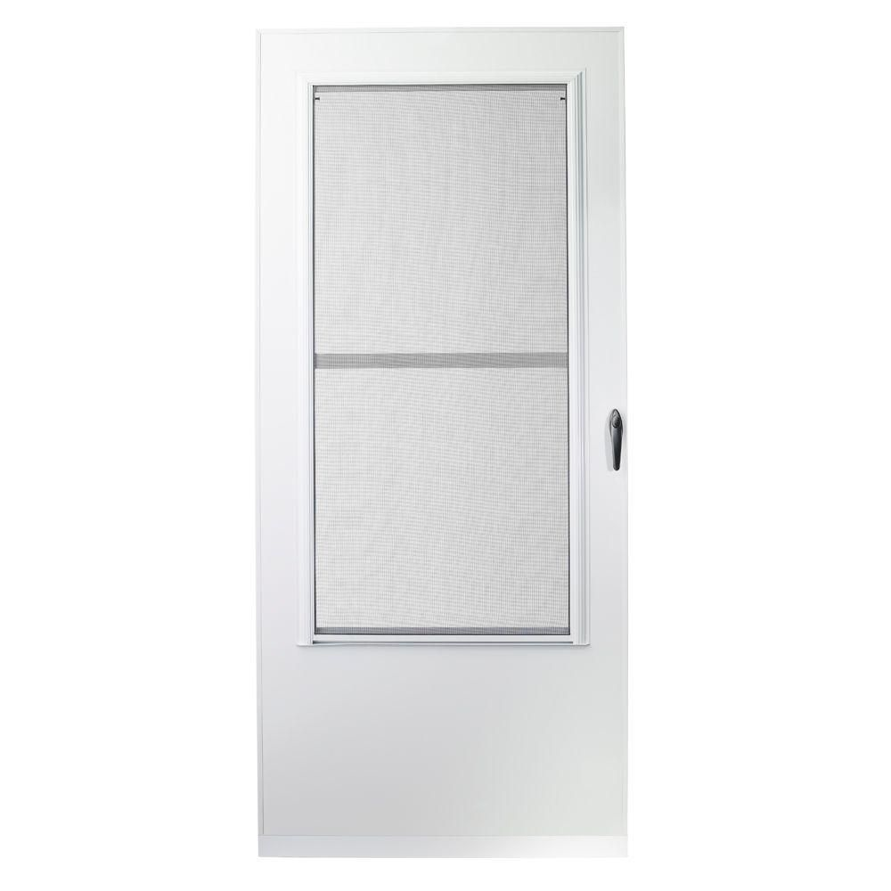EMCO 32 in. x 80 in. 100 Series White Self-Storing Storm Door ...