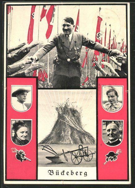 old postcard: AK Deutsches Ernte-Dankfest auf dem Bückeberg, Führer Adolf Hitler begrüßt die Menge, Hakenkreuzfahnen