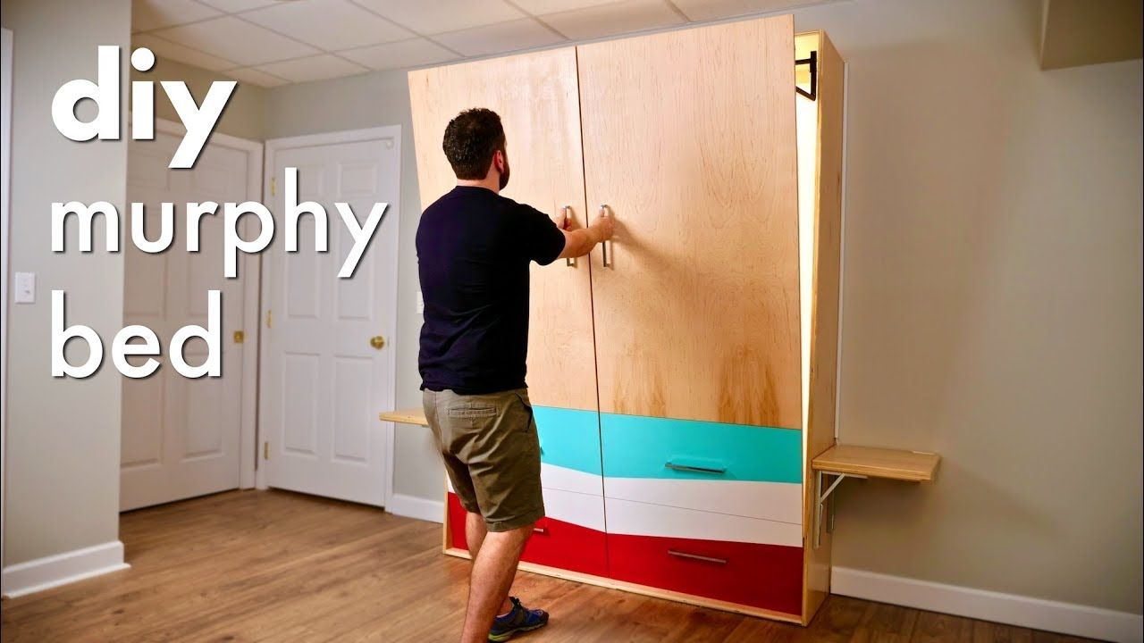 Diy Murphy Bed With Alexa Controlled Led Lights Folding Nightstands Murphy Bed Murphy Bed Diy Murphy Bed Plans