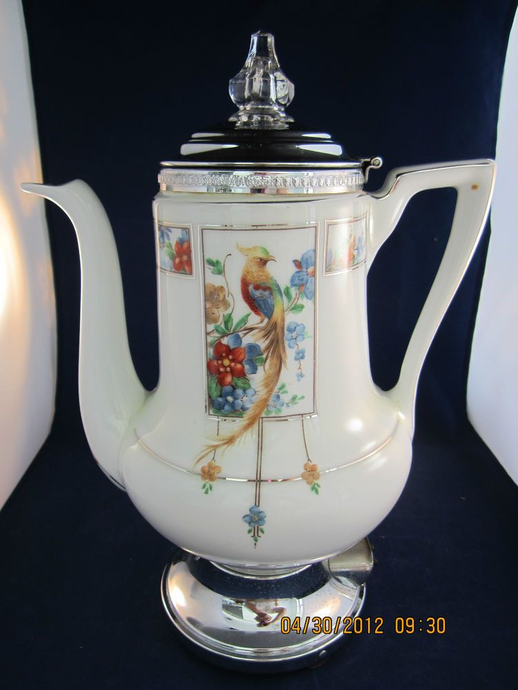 Vintage ROYAL ROCHESTER Art Deco Golden Pheasant Porcelain Electric Percolator