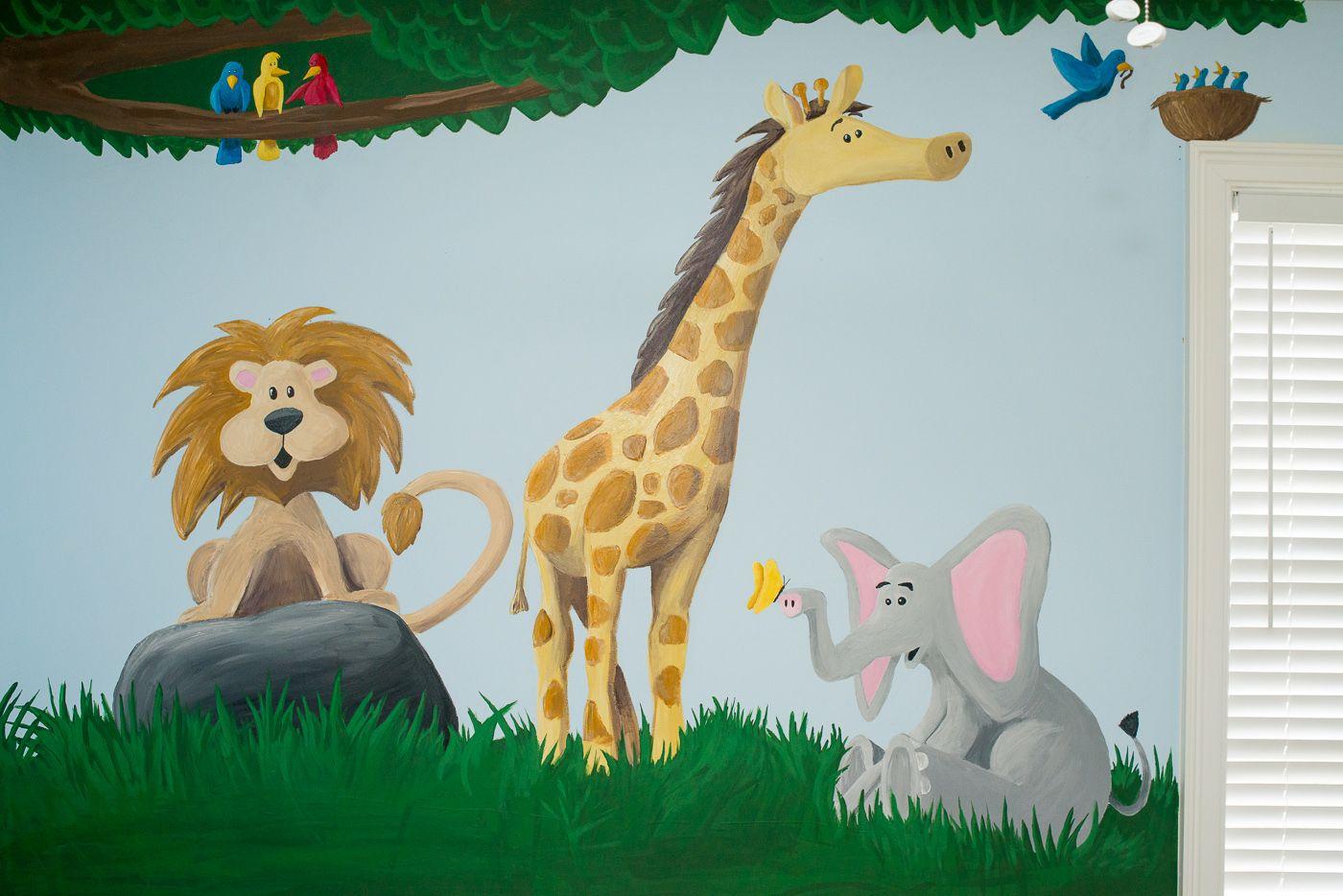 Right Panel Of Mural Giraffe Animals Room