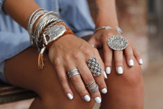 Boho//hippy//vintage//antique Sterling Silver circle eternity stacking band ring