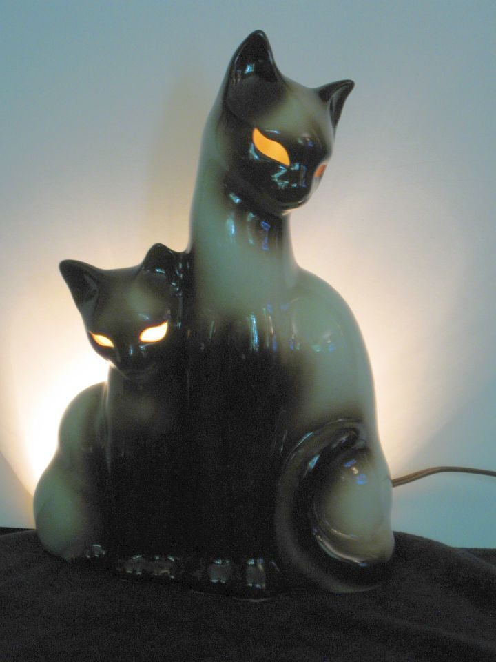 Vintage Kron Texas Ceramic Siamese Cat Kitten Tv Lamp Perfect