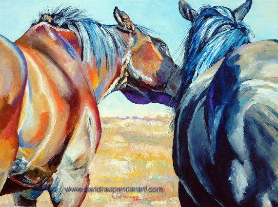 Original Horse Smooch Oil Painting 18x24