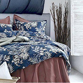 Amazon Com Midnight Blue Botanical Print Duvet Quilt Cover Egyptian Cotton Bedding Set Modern Luxury Cotton Bedding Sets Quilted Duvet Egyptian Cotton Bedding