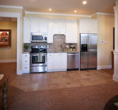 Basement Kitchen Has Everything Just Put Bar With Stools In Front Of Basement
