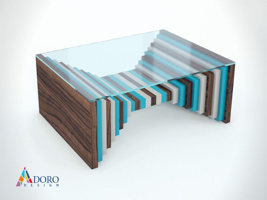 Coffe Table Tri-ton Blue and Light Gray / Кафе Маса Тритон Синьо и светло Сиво