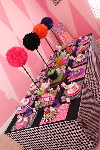 Mad Hatter Tea Party Table Black And White Checks With Red Pops